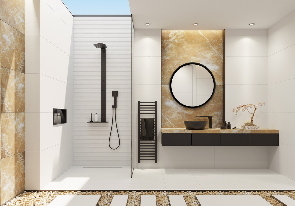 Luxurious bathroom with a skylight and natural